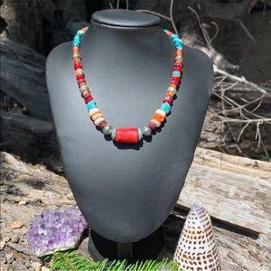 ☀️NEW! Handmade genuine gemstone tribal necklace